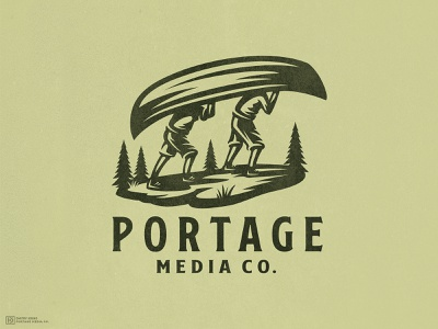 Portage Media Co. expore nature mascot media human man fir spruce hiking hill boat canoe portage