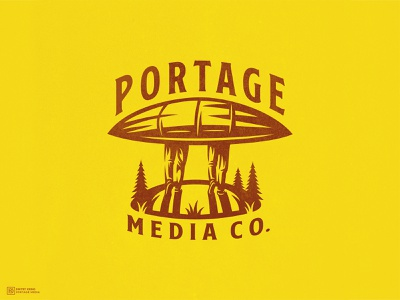 Portage Media Co. dmitry krino hiking grass road hill forest canada fir spruce man people boat logo concept