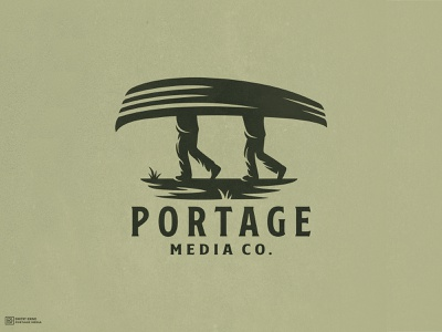 Portage Media Co. road walk forest hiking grass man canoe boat mascot logo graphic design esport logo mascot dmitry krino