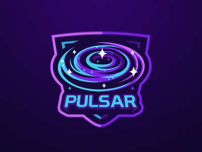 Pulsar Team stars space galaxy esport logo esports graphic design krinographics mascot