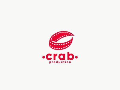 Crab Production badge logo tape cinema movie production tv video claw crab