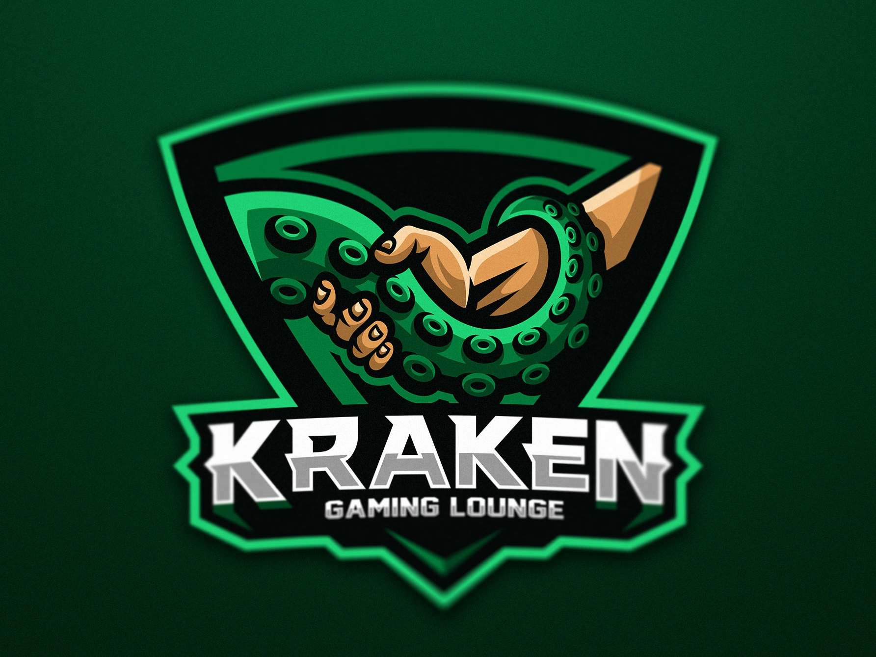 tentacle shaking hand with a human gaming lounge logo