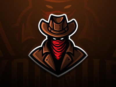 Cowboy Mascot for Younub Esports wild west bandana eye angry coat hat western cowboy esport logo logotype dmitry krino esports mascot