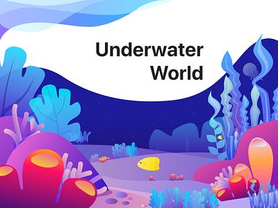 Underwater world - Illustration Exercise ui aquatic coral sea design illustration fish plants water ocean