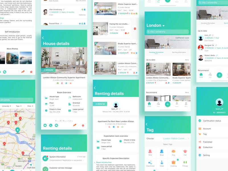 International student renting APP interface iphone international student house renting icon sketch app design ui