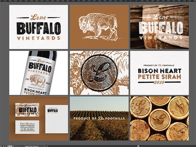 round 1 wine buffalo vineyard bison heart sirah branding stationary cork barrels texture letterpress
