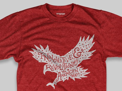 The American Way Shirt independence day 4th of july texture hand type grit eagle ampersand usa america