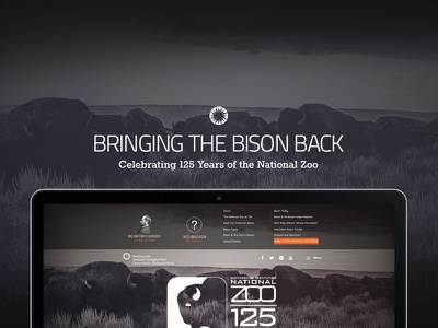 Bringing The Bison Back bison zoo smithsonian logo web menu ui mockup slider