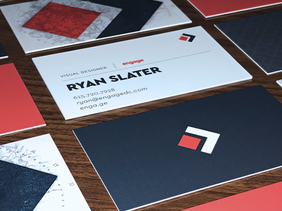 Engage Business Cards process stack layout agency logo branding design spot uv business cards