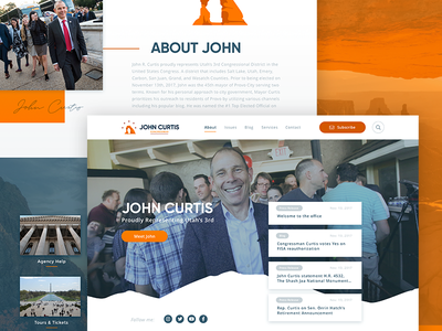 Congressman John Curtis Homepage congress mockup sketch utah ux ui design homepage