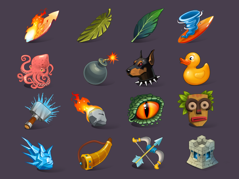 Icons for game icons game game ui hammer octopus dusk