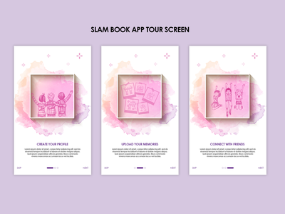 Slam Book Tour Screens art design app vector minimal illustration ux ui