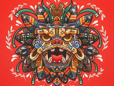 Quetzalcóatl logo color illustration vector tattoo mexican culture prehispanic flowers mexico