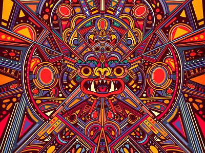 prehisanxiety culture prehispanic simetry mexican art illustration color logo vector mexico