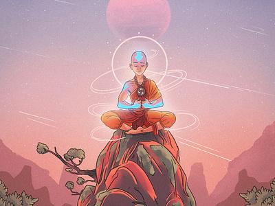 Aang meditate color illustration vector reflex peace nickelodeon avatar aang