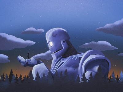 iron giant robot friends illustration iron giant