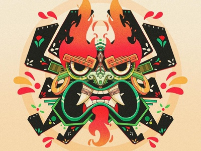 AKU prehispanic plants culture dead fire color flowers mexico illustration