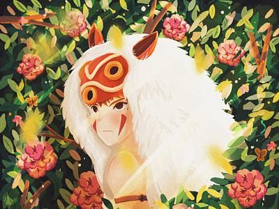 Mononoke (もののけ姫 ) totoro studioghibli plants flowers illustration mononoke