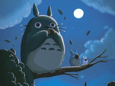 Totoro (となりのトトロ) flowers illustration studioghibli totoro