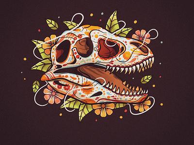 Mex-Dino flowers culture logo skull dinosaur trex