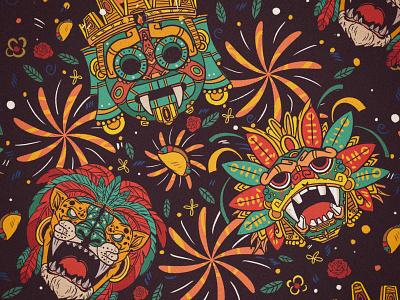 GODS-MEXICAN flower mexico taco culture logo gods mexicano
