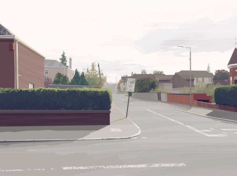 Street 001 select tool street suburbs lighting environmental art environment procreate