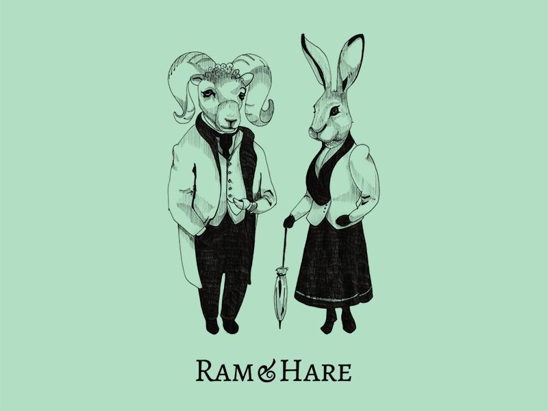 Ram & Hare identity branding illustration logo design logo