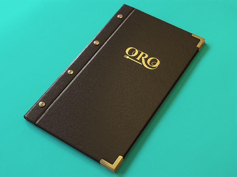 Oro Menu gold foil indesign metallic foil gold print typography type design menu