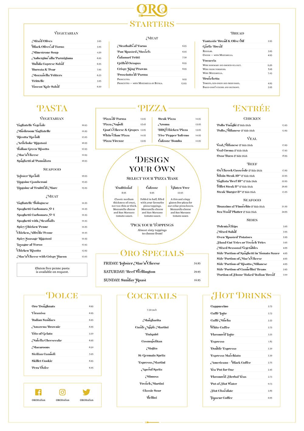 Oro outdoor menu print