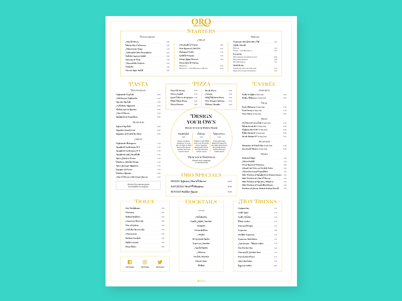 Oro Outdoor Menu typography type indesign design wall outdoor menu poster print