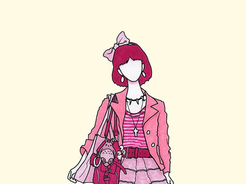 Mononoke studio ghibli mononoke princess pink flat copic pen markers ink girl fashion illustration