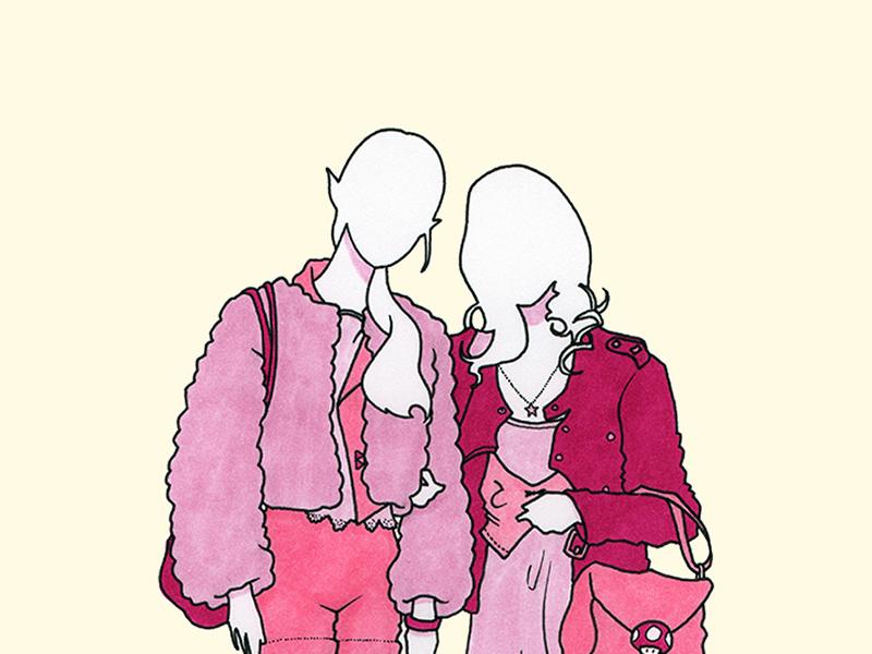 Zelda + Peach zelda peach nintendo princess pink copic pen markers ink girl fashion illustration