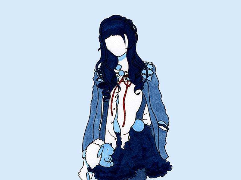 Umbrella japanese blue design flat copic pen marker markers ink girl fashion illustration