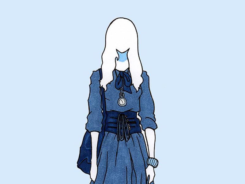 Clock japanese blue design flat copic pen marker markers ink girl fashion illustration