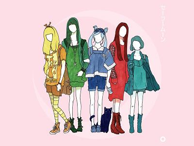 Sailor Moon illustration fashion girl ink markers pens copic flat sailor moon anime design