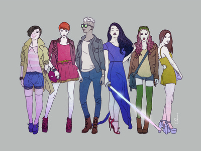 X-Girls illustration fashion girl photoshop ink flat x-men marvel comics design