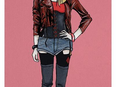Harley Quinn illustration fashion girl ink markers pens copic flat dc comics design harley quinn comics
