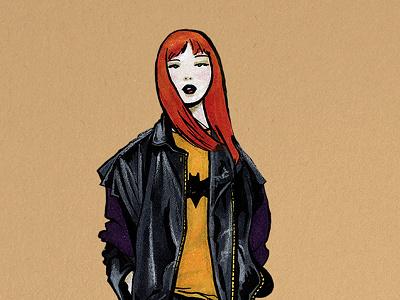 Batgirl illustration fashion girl ink markers pens copic flat dc comics comics design batgirl