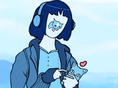 Momoko and Neko-chan cartoon motion graphics robot cat girl japanese japan after effects animation anime