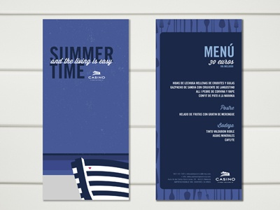Casino illustration menu summer
