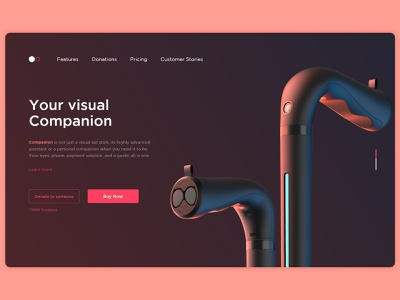 Companion - A Smart Visual Aid Stick - Landing Page camera buy now hardware ear buds binaural modern ui industrial design smart cane white cane blind visual aid landing page