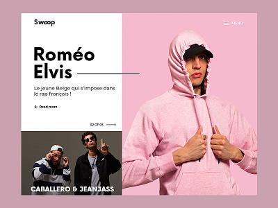 Swoop music website webpage web design web valentin semes ui simple minimal landing design pink