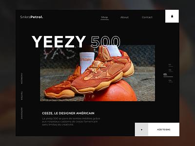 YEEZY 500 adidas website webpage webdesign web ui design landing minimal valentin semes yeezy