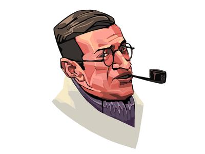 Day Twenty Seven. Sartre design portrait digital writer novelember illustration draw character art