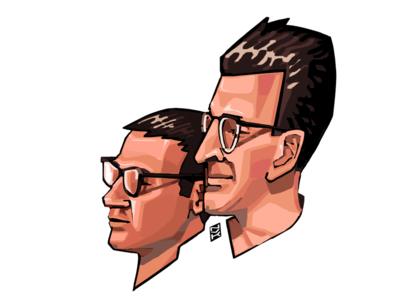 Day Twenty Eight and Twenty Nine. Strugatsky brothers design portrait digital writer novelember illustration draw character art