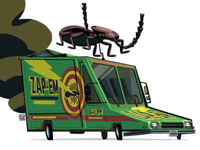 Zap-Em van from MIB edgar ufo dirt smoke draw stylized insect bug digital art car mib
