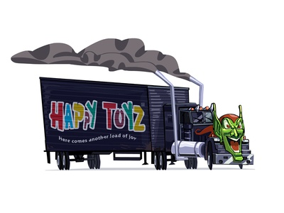 Happy Toyz Truck from Maximum Overdrive by Stephen King digital art concept illustration cartoon car smoke truck mask goblin