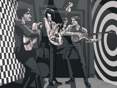The Kinks digital art illustration poster 2d group british rocknroll band music