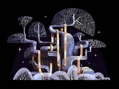 Oak Tree for 'Lukomorye' project flat style 2d digital fairy tale chain gold art illustration graphic tree
