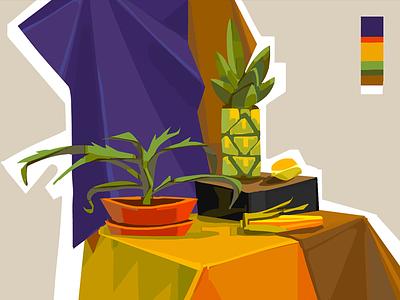 still life with pineapple style table art illustration cg digital lemon aloe study 2d fruits